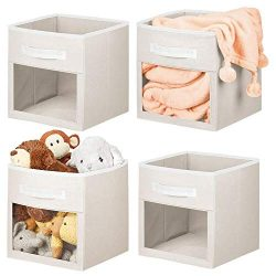 mDesign Soft Fabric Closet Storage Organizer Cube with Front View Window Bin, Storage for Baby,  ...