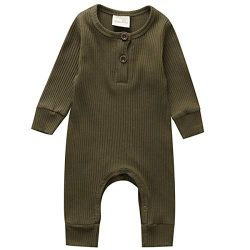 Kuriozud Newborn Infant Unisex Baby Boy Girl Sleeveless Button Solid Knitted Romper Bodysuit One ...