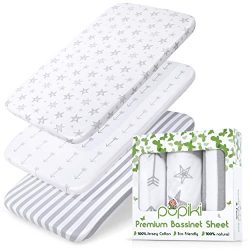 PUPIKI Bassinet Sheets 3 Pack Set 100% Jersey Cotton Baby Sheets for Boys and Girls, Bassinet Sh ...