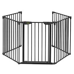 Bonnlo 121-Inch Metal Fireplace Fence Guard 5-Panel Baby Safety Gate/Barrier/Play Yard with Door ...