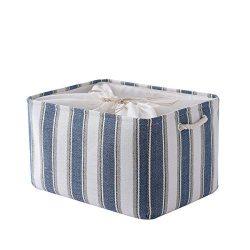 TheWarmHome Basket Storage Basket Dog Toy Basket Cloth Storage Bin with Cotton Rope Handles Deco ...