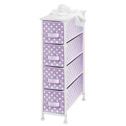 mDesign Narrow Vertical Dresser Drawers – Sturdy Steel Frame, Wood Top, 4 Easy Pull Fabric ...