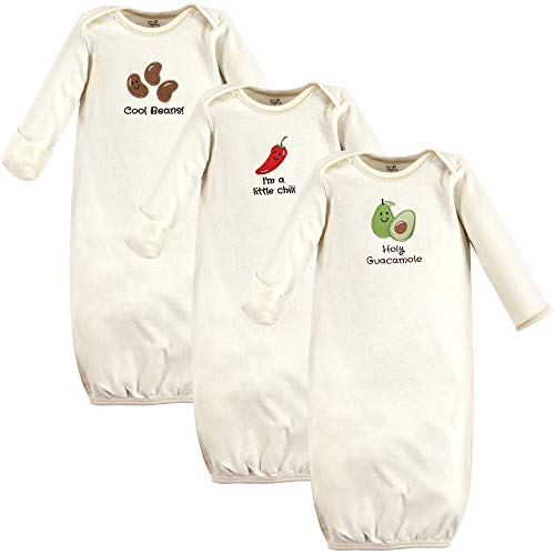 Touched by Nature Unisex Baby Organic Cotton Gowns, Guacamole, 0-6 Months