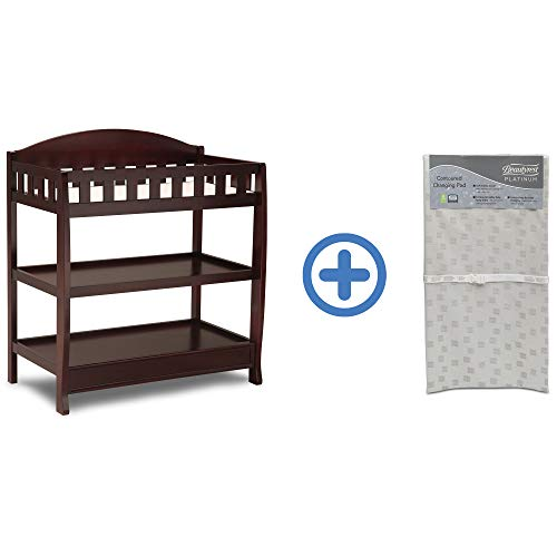 Delta Children Infant Changing Table with Pad, Espresso Cherry and Waterproof Baby and Infant Di ...