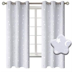 BGment Moon and Stars Blackout Curtains for Kids Bedroom, Grommet Thermal Insulated Room Darkeni ...