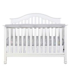 Designthology (U.S.) 1-Pack Super Breathable Narrow Crib Rail Cover for Long Rail – 100% C ...