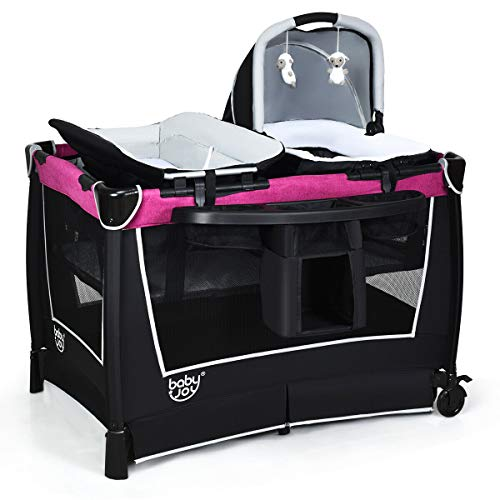 BABY JOY 4 in 1 Portable Baby Playard with Bassinet, Changing Table, Foldable Bassinet Bed & ...