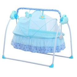CBBBBAY Electric Baby Cradle Swing Sleeping Rocking Basket Bassinet Newborn Crib Bed