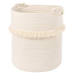 "Extra Large Woven Storage Baskets – 17"" x 16"" Cotton Rope Decorative Hamper fo ..."