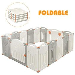 Costzon Baby Playpen, 16-Panel Foldable Kids Safety Activity Center Playard w/Locking Gate, Non- ...