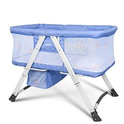 besrey Baby Bassinet 2 in 1 Travel Crib Baby Bed with Breathable Net/Harmless Mattress/Quick Fol ...