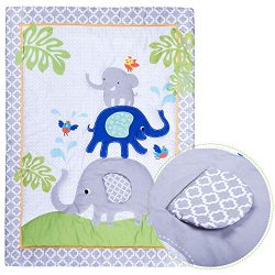 Humble Home Products Nursery Bedding: 6 Piece Baby Boy/Girl Elephant Crib Set (Greyblue)