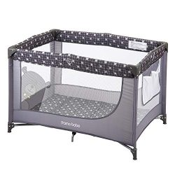 Comfortable Playard,Sturdy Play Yard with Mattress (Grey)