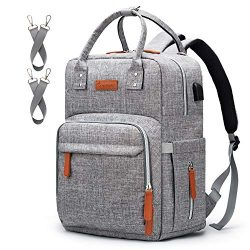Diaper Bag Backpack Upsimples Multi-Function Maternity Nappy Bags for Mom&Dad, Baby Bag with ...