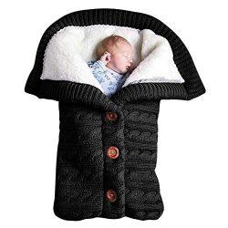 Newborn Baby Blanket, Unisex Warm and Comfortable Cotton Velvet Knit Button Blanket, Baby Stroll ...
