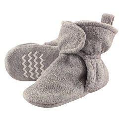 Hudson Baby Baby Cozy Fleece Booties with Non Skid Bottom, Heather Gray, 2 Toddler