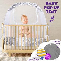 Crib Pop Up Tent – Safety Net Canopy to Protect Your Baby from Crib Rails, Falls and Mosqu ...