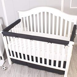Belsden Pack of 3 Crib Rail Cover Set Including 1 Long and 2 Side Rails, Durable Crib Rail Baby  ...