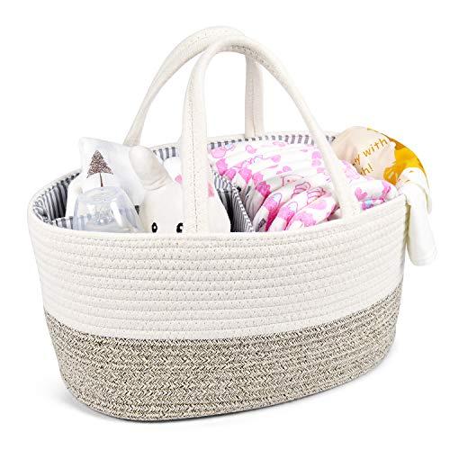 Baby Diaper Caddy Organizer – Changing Table Organizer – Rope Nursery Storage Bin wi ...