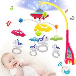 Baby Musical Crib Mobile, Baby Mobile Motor with Projector Music Box Merry Go Round Pendant for  ...