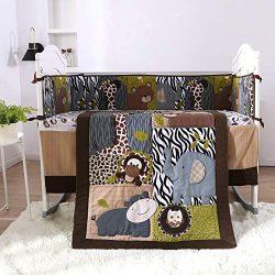 KINBEDY Originals Brown Woodland Animals 7 Piece Crib Bedding Set, Neutral Nursery Crib Set for  ...