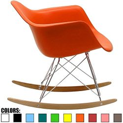 2xhome Orange Mid Century Modern Molded Shell Designer Plastic Rocking Chair Chairs Armchair Arm ...