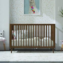 Novogratz Harper 3-in-1 Convertible Baby Crib, Walnut