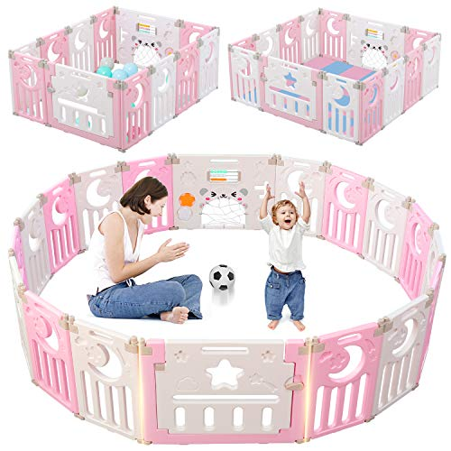Baby Playpen, Dripex Foldable Kids Activity Centre Safety Play Yard Home Indoor Outdoor Baby Fen ...