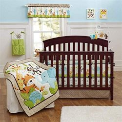 Spring Baby Crib Bedding Set 9 Piece, 100% Soft Natural Cotton Baby Crib Set for Boy and Girl, N ...