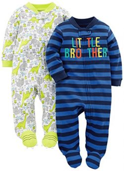 Simple Joys by Carter's Baby Boys 2-Pack Fleece Footed Sleep and Play, Little Brother/Dino ...