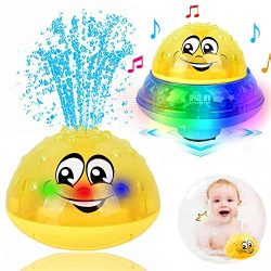ZHENDUO Bath Toys, 2 in 1 Induction Spray Water Toy & Space UFO Car Toys with LED Light Musi ...