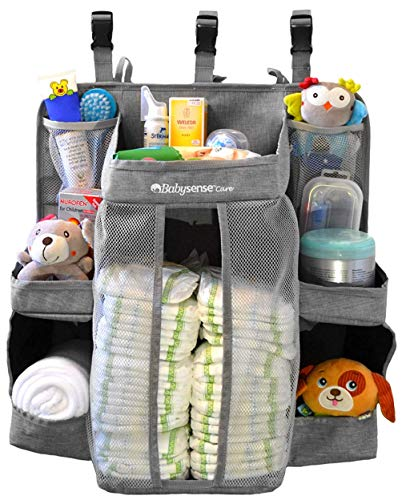 Hanging Diaper Caddy Organizer for Changing Table, Crib | Stain-Resistant Diaper Stacker | 6 She ...
