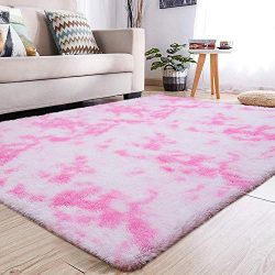 YJ.GWL Soft Shaggy Geometry Area Rugs for Girls Room Bedroom Non-Slip Kids Carpet Baby Nursery D ...