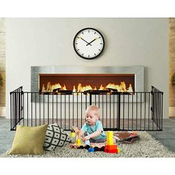 PETSJOY 6 Panels Baby Safety Gate, 5-in-1 Fireplace Fence, Wide Barrier Gate with Walk-Through D ...