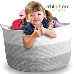 Nursery Storage Basket, 22″x22″x16″, Cotton Rope Baby Laundry Basket, Blanket  ...