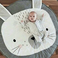 Abreeze Kids Nursery Rug Bunny Shaped Play Mat Round Carpet Cartoon Rabbit Design Home Room Deco ...
