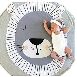 Abreeze Kids Nursery Rug Lion Shaped Play Mat Round Carpet Cartoon Lion Design Home Room Decor 3 ...