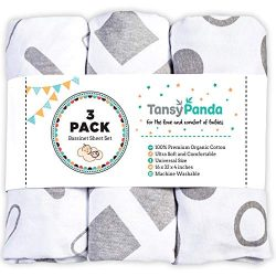 TANSY PANDA Bassinet Fitted Sheet Set Pack of 3-100% Jersey Cotton 160GSM Ultra Soft, Breathable ...