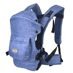 HarnnHalo Baby Carrier, Packable Carrier, Front and Back Carrier, 007, Blue