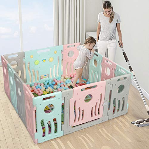 KingSo Baby Playpen Foldable Kids Baby Safety Play Yard Activity Centre with External Lock Gate  ...