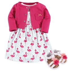 Hudson Baby Baby Girl Cotton Dress, Cardigan and Shoe Set, Bright Flamingo, 6-9 Months