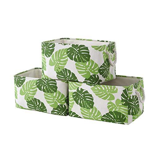 tegance Fabric Storage Baskets,3-Pack,Decorative Storage Baskets,Storage Bins for Shelves,Leaves ...