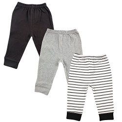 Luvable Friends Baby and Toddler Unisex's Cotton Pants, Boy Black Stripe 3-Pack, 9-12 Mont ...