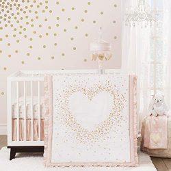 Lambs & Ivy Sweetheart 3-Piece Crib Bedding Set – Pink, Gold, White, Love