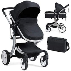 BABY JOY Baby Stroller, 2-in-1 Convertible Bassinet Sleeping Stroller, Foldable Pram Carriage wi ...