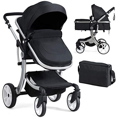 BABY JOY Baby Stroller, 2-in-1 Convertible Bassinet Sleeping Stroller, Foldable Pram Carriage wi ...