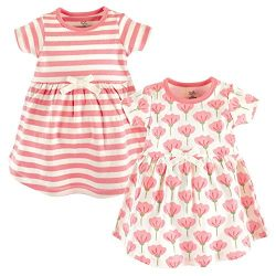 Touched by Nature Girls, Toddler, and Baby Organic Cotton Short-Sleeve Dresses, Tulip, 12-18 Months