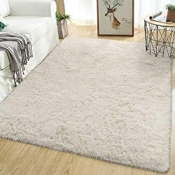 Softlife Soft Fluffy Area Rugs for Bedroom 5.3′ x 7.6′ Comfy Modern Indoor Fur Carpe ...