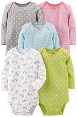 Simple Joys by Carter's Baby Girls -Pack Long-Sleeve Bodysuit, Grey/Pink/Lime/Blue, 12 Months