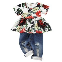 CARETOO 2Pcs Girls Clothes Outfits, Baby Girl Flower Floral Short Sleeve Shirt Tops+ Ripped Jean ...